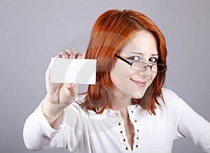 Portrait Of An Young Woman With Blank White Card Royalty Free Stock Image - Image: 15155396