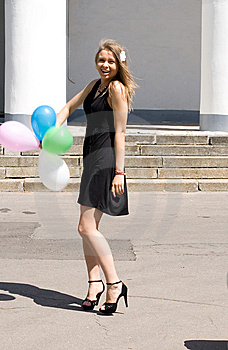 Joyful Girl With Balloons Royalty Free Stock Photos - Image: 15155578
