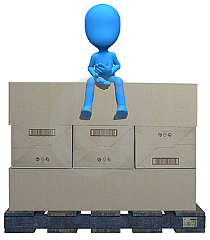 3d Blue Character On The Box Stock Images - Image: 15155984