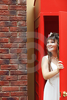 Bride In The Telephone Cabin Stock Photo - Image: 15156300