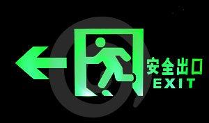 明亮的紧急出口绿灯亮光符号 图库摄影 - 图片: 15158462