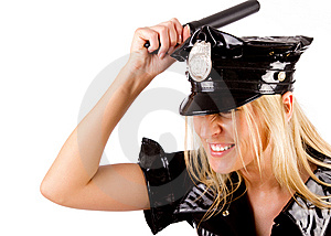 Policewoman Is Smashing With Stick Stock Images - Image: 15159244