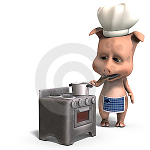 The Cook Is A Cute Toon Pig Royalty Free Stock Photography - Image: 15159487