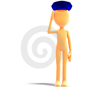 Symbolic 3d Male Toon Character With Police Hat Stock Photos - Image: 15159503