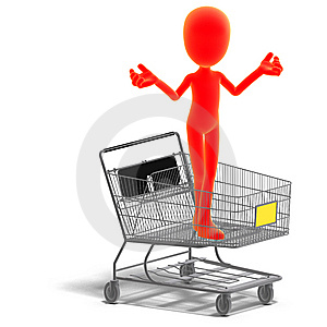 Symbolic 3d Male Toon Character Goes Shopping Stock Photo - Image: 15159510