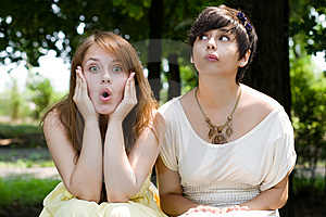 Girls With Funny Facial Expressions Stock Photo - Image: 15159890