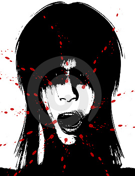 Scary And Bloody Creepy Women Face Stock Photo - Image: 15161910