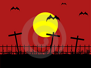 Night Cemetery With Bat Against The Dark Red Sky Stock Photos - Image: 15167103