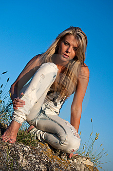 Barefoot Blonde Stock Photos - Image: 15171313