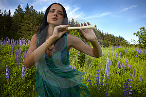 Attractive Girl With Flute Sitting In Summer Field Stock Photo - Image: 15172190