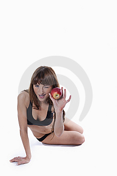 Muscle Woman With Apple Royalty Free Stock Photography - Image: 15172837