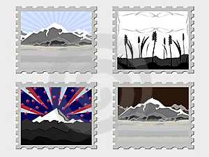 Four Vector Stamps Royalty Free Stock Photos - Image: 15173438