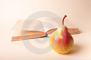 Pear And Old Book Stock Image - Image: 15177991