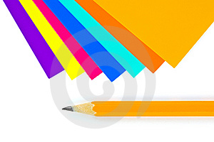 Multicolored Paper And Pencil Royalty Free Stock Photos - Image: 15178228