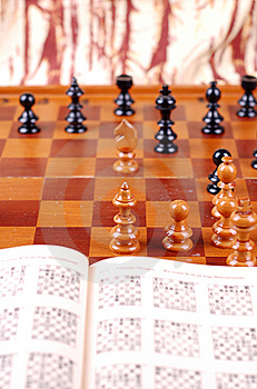 Chess Table And Chess Book Stock Images - Image: 15185164