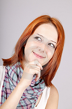 Portrait Of Beautiful Red-haired Girl. Stock Photo - Image: 15187740