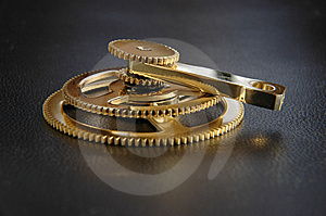 Precision Brass Cog Gearing And Crankshaft Stock Image - Image: 15190711