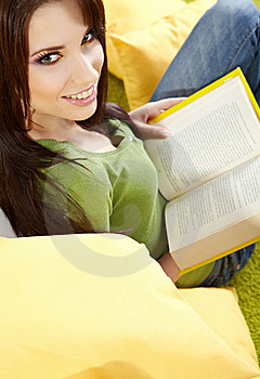 Woman At Home Reading A Book Royalty Free Stock Photos - Image: 15191888