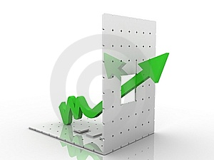 3d Graph Showing Rise In Profits Or Earnings Royalty Free Stock Photography - Image: 15194817