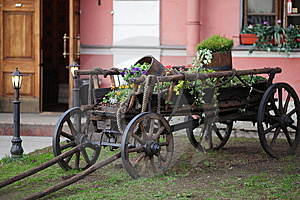 Old Cart With Flowers Stock Images - Image: 15195924