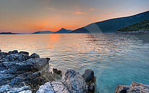 Summer Sunset Landscape Beach In Montenegro Royalty Free Stock Image - Image: 15196586