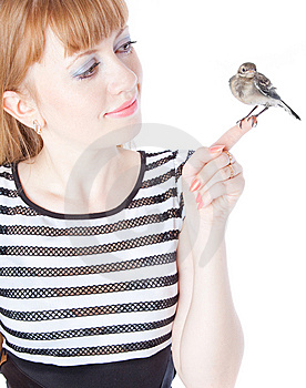 Nestling Of Bird (wagtail) On Hand Royalty Free Stock Photos - Image: 15198468