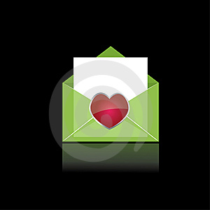 Colorful Green Mail With Heart Stock Images - Image: 15198484