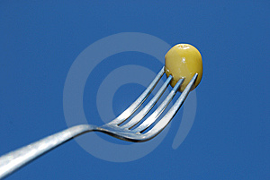 Fork With Green Olives Stock Images - Image: 15198954