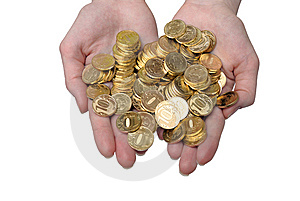 Gold Coins On Palms. Isolation On The White Stock Photography - Image: 15205332