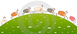 Love Sheep Pursues After Other Royalty Free Stock Images - Image: 15209729
