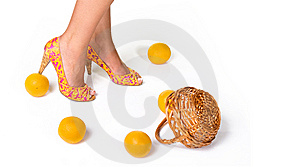 Bright High Heeled Shoes And Oranges Royalty Free Stock Image - Image: 15209736
