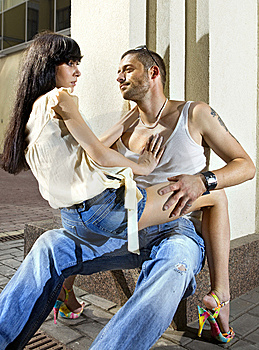 Couple On The Street At Summer Stock Photos - Image: 15209773