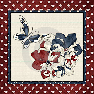 Red, White & Blue Flowers Butterfly Background Stock Photos - Image: 15212663