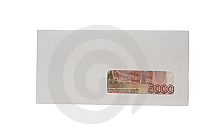 Closed White Envelope With Ruble Stock Image - Image: 15214051