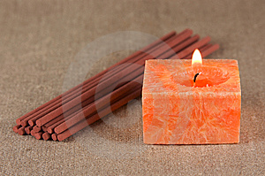 A Bundle Of Incense Sticks And A Candle Stock Photography - Image: 15218652