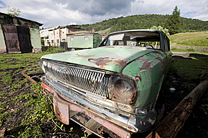 Old car wreck Stock Photos