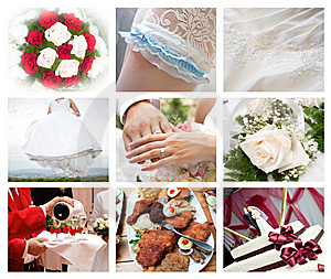 Collage of wedding photos Stock Images
