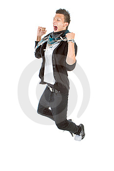 Trendy Jumping In Joy Royalty Free Stock Image - Image: 15224706