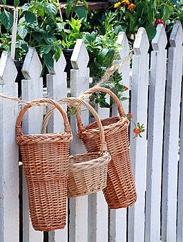 Beautiful Wicker Baskets Royalty Free Stock Photo - Image: 15225615