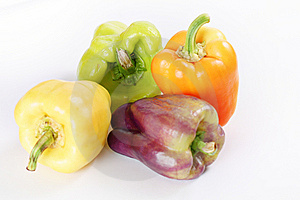 Assorted Colorful Peppers On White Royalty Free Stock Photography - Image: 15225897