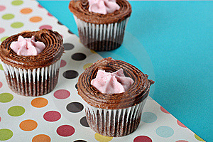 Polka Dot Raspberry Filled Cupcakes Stock Photo - Image: 15225940