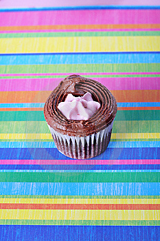 Raspberry Filled Cupcake On Colorful Background Royalty Free Stock Images - Image: 15225949