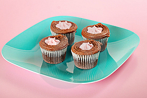 Chocolate Cupcakes On Pink Background Royalty Free Stock Image - Image: 15225996