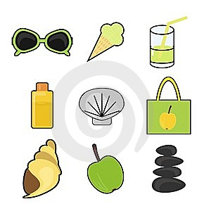 Set With Summer Vacation Objects Royalty Free Stock Photo - Image: 15228345