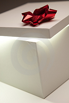 Red Bow Gift Box Lid Showing Very Bright Contents Royalty Free Stock Image - Image: 15232646