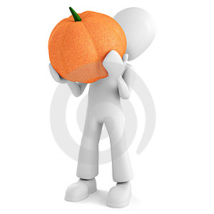 3d Man Holding A Pumpkin On White Background Royalty Free Stock Photo - Image: 15234985