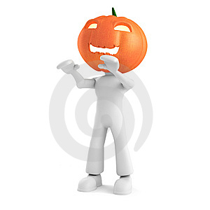 3d Man Holding A Pumpkin On White Background Royalty Free Stock Photos - Image: 15234988