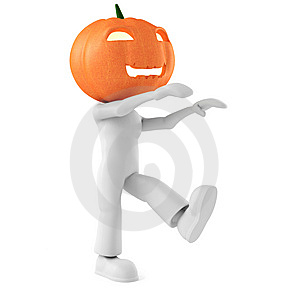 3d Man Holding A Pumpkin On White Background Stock Photography - Image: 15234992