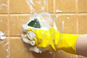 Hand In Yellow Rubber Glove Stock Image - Image: 15235191