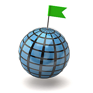 Blue Globe And Flag Pin Royalty Free Stock Photos - Image: 15235298